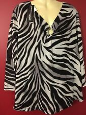 NORTON MCNAUGHTON Women's Black/White Blouse - Size 2X - NWT $44