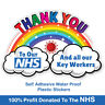 2x Thank You NHS And Key Workers Charity Rainbow Window Sticker Vinyl A6 V1008