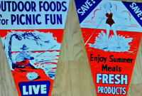 Vintage mid century banners ads large 'flags' paper grocery flyers display