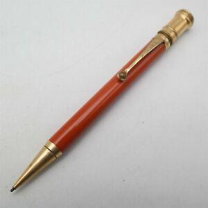 Vtg Parker Duofold JR USA made mechanical pencil Orange barrel Gold Trim Nice
