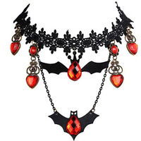 Halloween Necklace Bat Choker Retro Lace Necklace Creepy Jewelry Heart Shaped