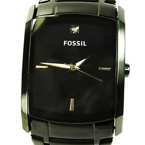 FOSSIL men's watch Model FS4159 Dia. Round Rect. Black Dial and band (SEE VIDEO)