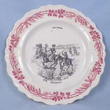 Creil et Montereau Le Sports Plate No. 2 Equitation Red Black Antique Faience