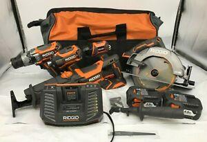 RIDGID R9652 18-Volt Lithium-Ion Cordless Brushless 5-Tool Combo Kit LN