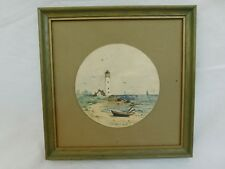 VINTAGE WATERCOLOR PAINTING LIGHTHOUSE BEACH FRAMED SMALL SIGNED HASSELT?