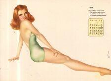 1944 Vargas Original Calendar Page May - Redhead