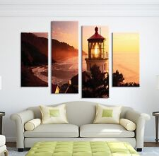 Modern Abstract Oil Painting Wall Decor Art Huge - Landscape Lighthouse Sunset