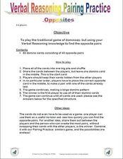 11+PLUS VERBAL REASONING OPPOSITE DOMINO GAME-NFER/BOND