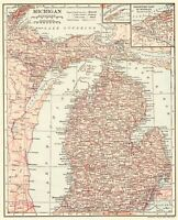 1906 Antique MICHIGAN State Map Gallery Wall Art Vintage Map of Michigan 7808