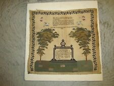 Antique Primitive Memorial Sampler 1848, 24X26 Inches, by Sarah Marsden 1848
