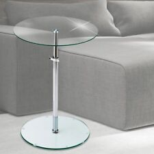 Tisch Beistell Ablage Fläche Chrom Wohn Zimmer Klar Glas Platte höhenverstellbar