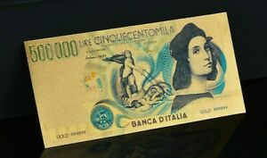 Colored Italy 500000 Lire Gold Novelty Banknote