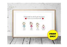 A4 Personalised Family Tree Nanny, Nan, Gran, Granny, Grandma, Grandmother Print