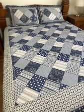 Brand New 3 Pcs Vintage Blue Country Patchwork Quilt Bed Set Coverlet Queen