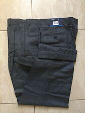 Brand New Nautica Men Pleated Pants - 100% Wool - Grey - 40W * 30L