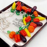 Vintage Style - Fiery & Hot Summer Vegan Vegetable Silvertone Necklace