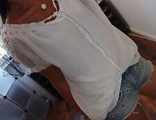 SALE Shirt Neu L 40 Spitze Baumwolle Seide Weiß Cotton Bluse Blogger Tunika Top