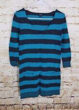Express Women's Blue Striped Sweater Dress 3/4 Sleeves Size Medium (AA)