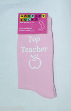 Top Teacher with Apple Pink Socks Great for End of Term and Christmas Present