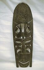 Old Vintage Ebony Wood African Tribal Face Mask Wooden Wall Art Hanging Decor