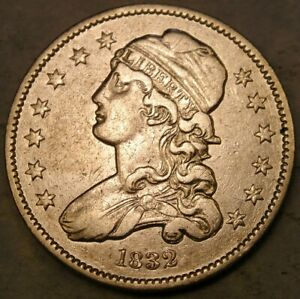 1832 CAPPED BUST SILVER QUARTER APPEALING BEAUTIFUL SCARCE ONLY 320,000 STRUCK