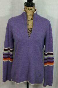Smartwool Women's L Knit Merino Wool Sweater Zip Neck Pullover Purple Stripes
