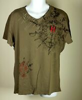 Men's Monarchy Los Angeles Embroidered Brown Lost Angels Patch T Shirt XXL NWOT