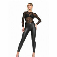 Women's High Waist Black Faux Leather Leggings Wet Look Shiny Stretchy Fashion