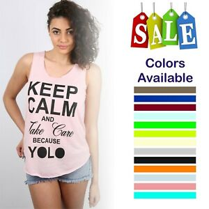 Women Ladies Keep Calm Print Vest Trendy Summer Tank  Shirt Fashion Top
