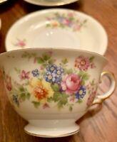 Vtg Meito China Porcelain Ivory Floral Cup Saucer Sets Gold Rim 4 Sets Lot Of 8