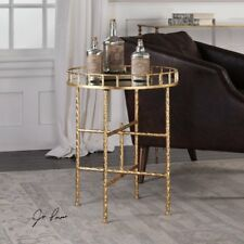 Vintage Mirrored Side Table Furniture Gold Metal Frame Tray Top Storage Drink
