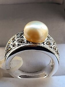 New With Tags 18k White Gold Plated pearl Band Ring in sizes N P Z