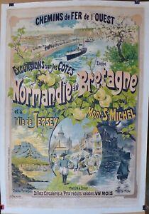 AFFICHE LITHOGRAPHIQUE c 1900 BRETAGNE NORMANDIE par G Fraipont
