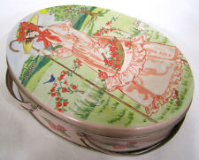 Vintage Tin Sewing Basket Cookie Tin Lady in Pink in Garden 1970s