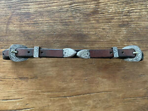 VTG Fleming STERLING SILVER BUCKLES WESTERN BRIDLE HEADSTALL Chin  STRAP