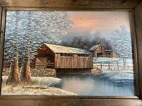 """Huge K Michaelson """"Covered Bridge And River Scene"""" Oil Painting - Signed/Framed"""