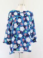 Banana Republic Blue Bold Floral Print Yoke Button Back Blouse Top Size L Pink