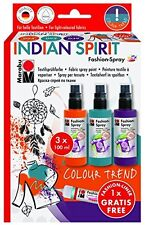 Marabu fashion spray set-spray peinture pour tissu t shirts etc-indian spirit