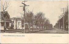 A View of Fifth Street in Fremont NE Postcard 1910