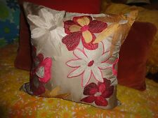 PIER 1 IMPORTS TAN RED GOLD FLORAL EMBROIDERED SQUARE THROW PILLOW 18 X 18