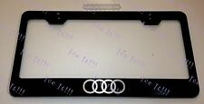 Audi Logo Stainless Steel Black License Plate Frame Rust Free W/ Caps