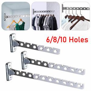 6/8/10Holes Coat Clothes Door Holder Rack Wall Mounted Hanger Stainless Steel UK
