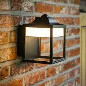 Lutec Zoe 9W Lantern Exterior Outdoor Garden LED Wall Light in Black
