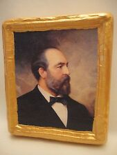 James Garfield American President Gold Art Icon on Genuine Pine Wood Plaque