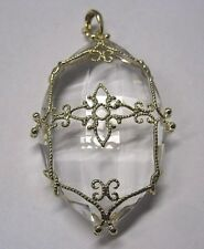 14k Yellow Gold Rock Crystal FP signed Pendant.