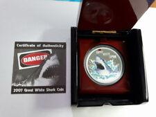 Tuvalu 2007, Great White Shark Dollar, 1 oz Silver Proof w/BOX+COA