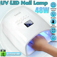White 48W Cordless Wireless Rechargeable LED/UV Nail Lamp Gel Polish Nail Dryer