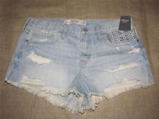 Womens New ABERCROMBIE & FITCH Shine Embellished Denim Frayed Shorts size 10