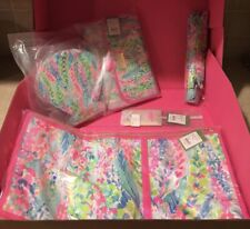 NWT Lilly Pulitzer 5 Pcs Catch the Wave GWP Garment Bag Hanging Makeup Case+