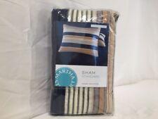 MARTHA STEWART - Garrison Stripe Yarn Dye Blue Stripe Standard Pillowsham